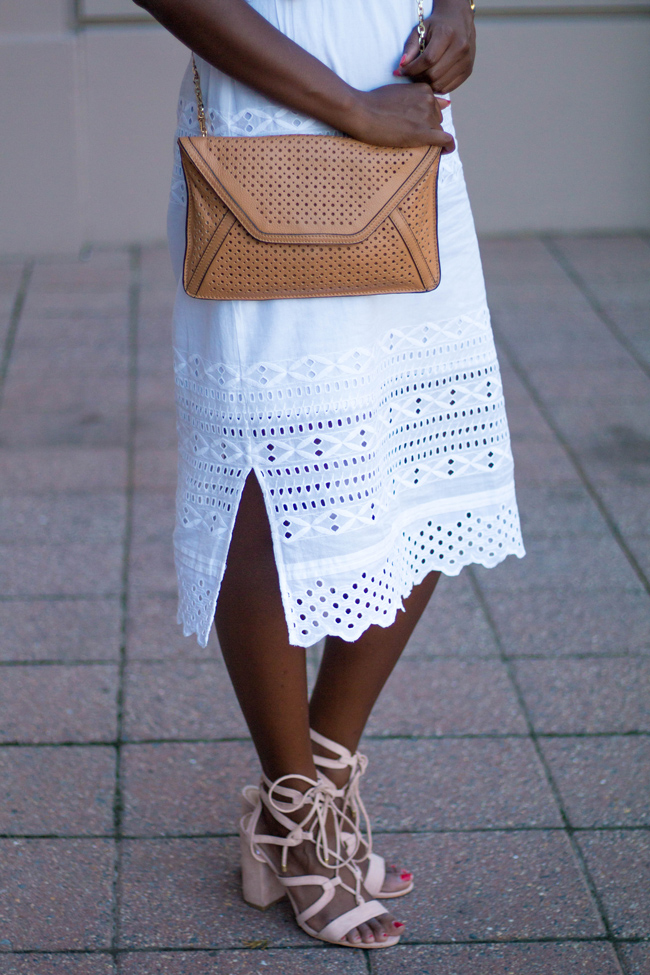 loft lace up heels, j.crew eyelet midi dress, j mclaughlin handbag, dc style blog