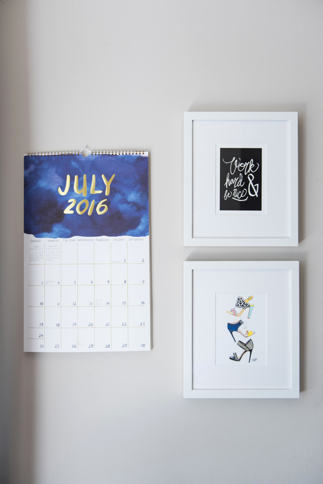 paper source watercolor calendar, minted work hard art print, joanna baker summer shoe print, framebridge gallery wall, office gallery wall