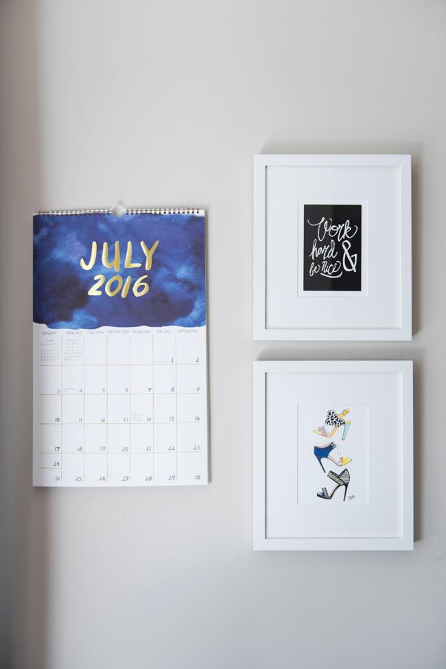 paper source watercolor calendar, minted work hard art print, joanna baker summer shoe print, framebridge gallery wall, office gallery wall