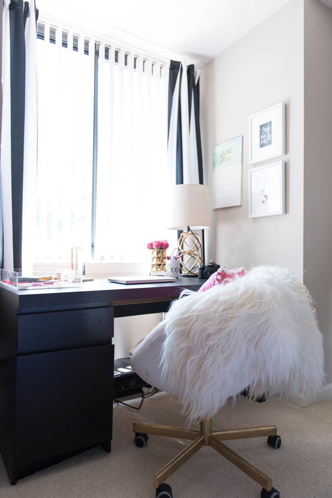boconcept sheepskin throw, blogger office, affordable office decor, striped curtains, dc blogger