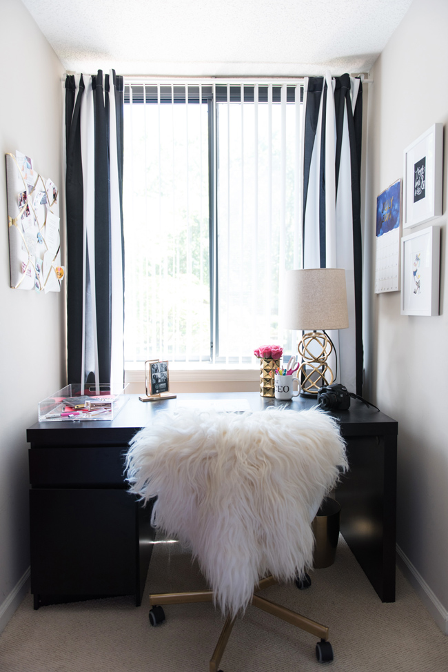 office decor ideas, decorating a black office, office ideas for 20somethings