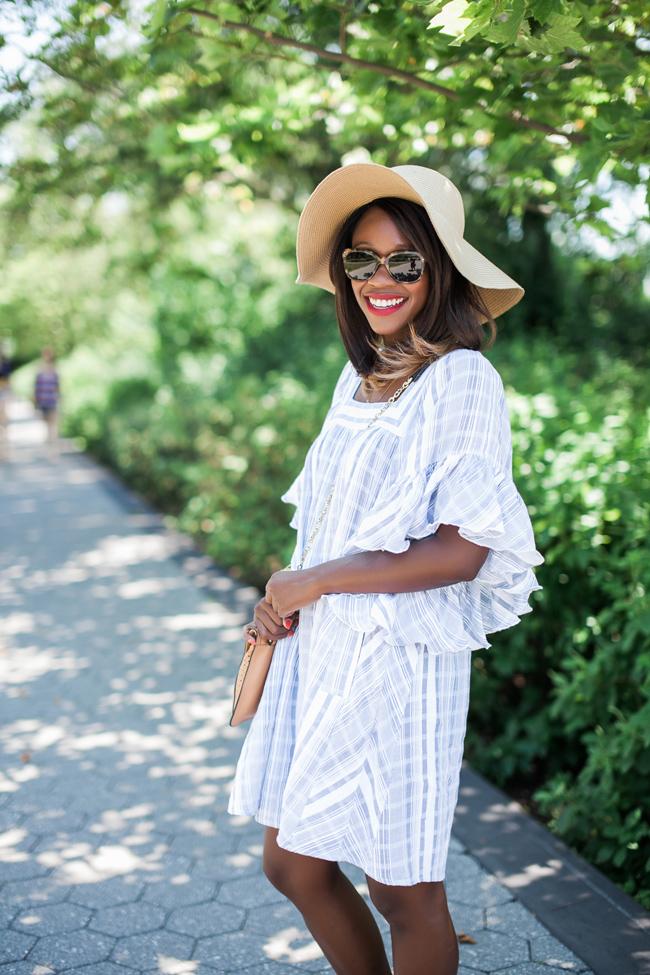 calypso st barth ruffle dress, david and young sunhat, georgetown waterfront, dc fashion blog