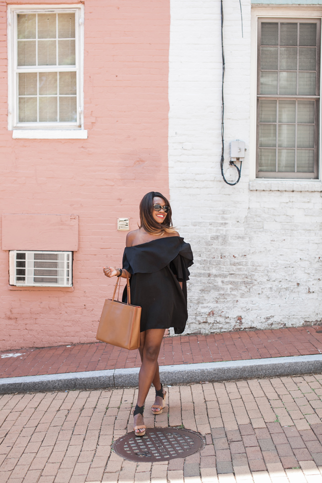 mlm maison off the shoulder dress, dc blogger, what to wear to summer happy hour