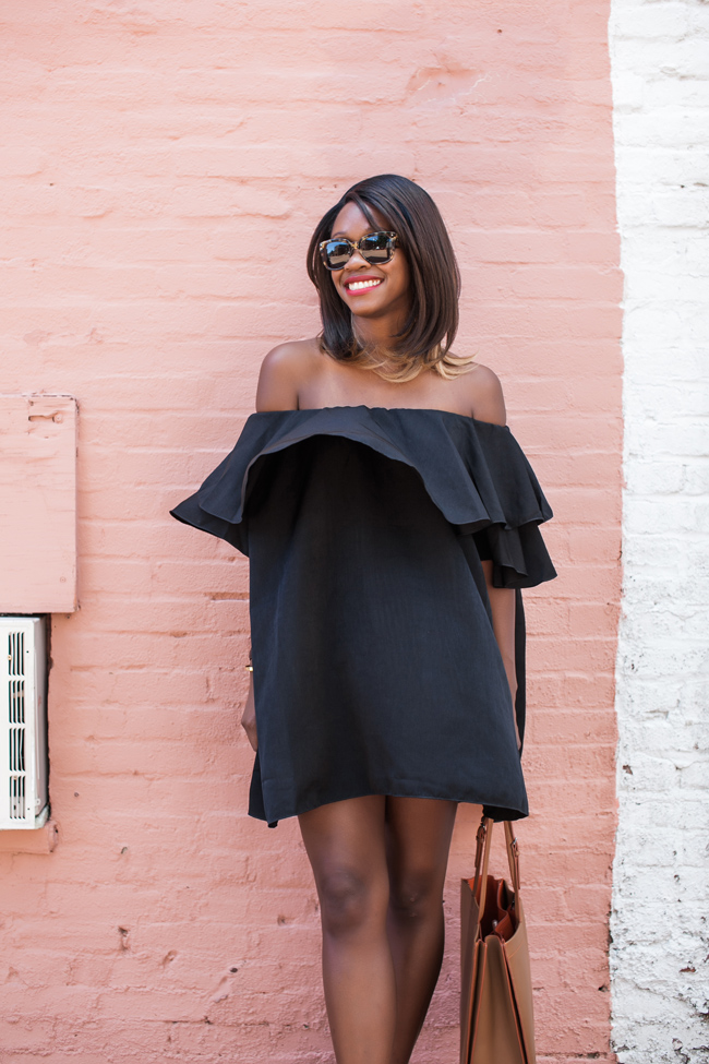 ruffle off the shoulder dress, selima optique sunglasses, lipp beautifully