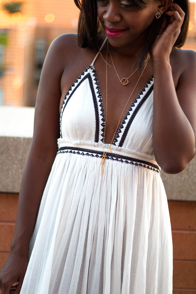 lipp beautifully, uncommongoods jewelry, mixed metal jewelry, white maxi dress - Uncommongoods Jewelry by DC fashion blogger Alicia Tenise