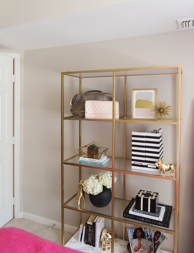 DIY gold and marble ikea shelves - Bedroom Tour: Reading Nook With an Awesome IKEA Bookcase Hack by popular DC blogger Alice Tenise