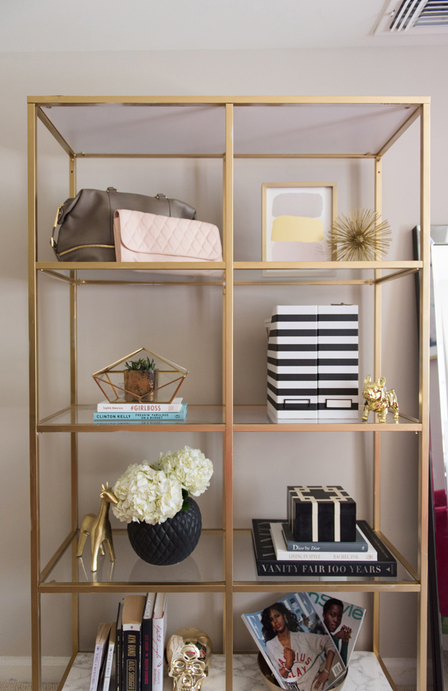 ikea VITTSJÖ shelves, diy gold ikea bookcase, how to style a bookcase - Bedroom Tour: Reading Nook With an Awesome IKEA Bookcase Hack by popular DC blogger Alice Tenise