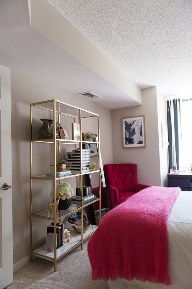 how to style a bookcase, dc fashion blog, blogger interior design, pink and gold bedroom decor - Bedroom Tour: Reading Nook With an Awesome IKEA Bookcase Hack by popular DC blogger Alice Tenise