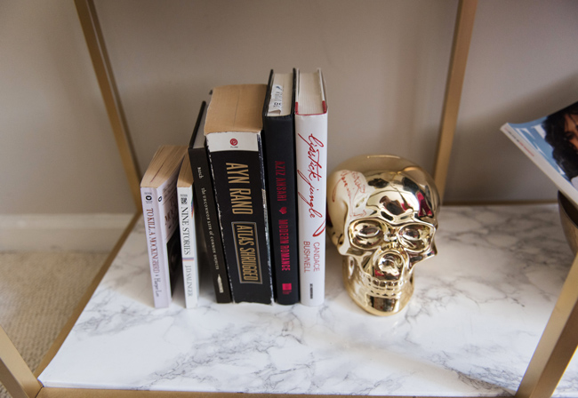 dormify gold skull, marble and gold bookcase, how to style books, blogger bedroom tour
