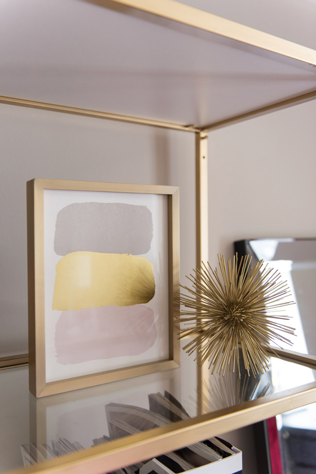 minted gold foil artwork, how to style a bookshelf, dc blog, northern virginia style blog - Bedroom Tour: Reading Nook With an Awesome IKEA Bookcase Hack by popular DC blogger Alice Tenise