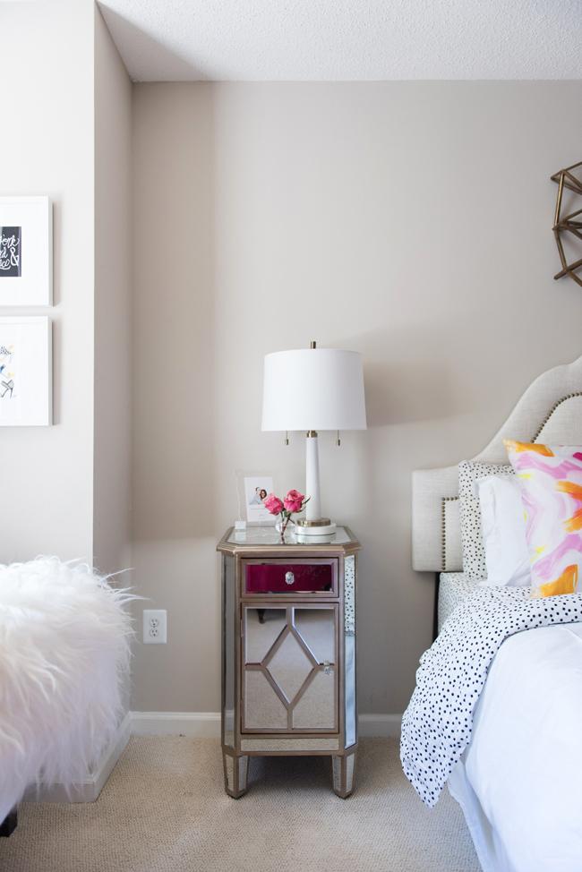 mirorred nightstand, kirklands bedroom furniture, girl's bedroom decor ideas