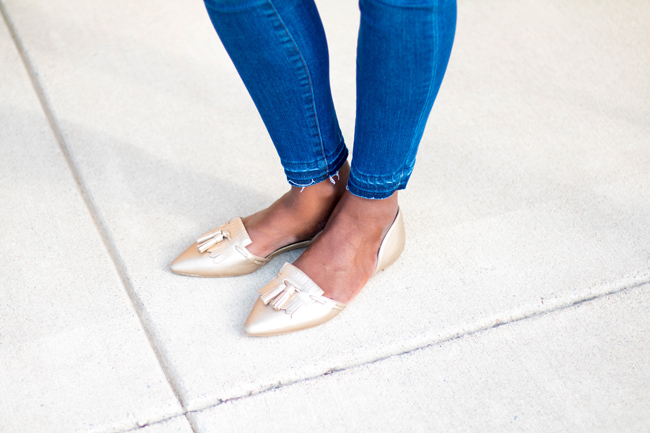 How to Style Metallic Gold Flats
