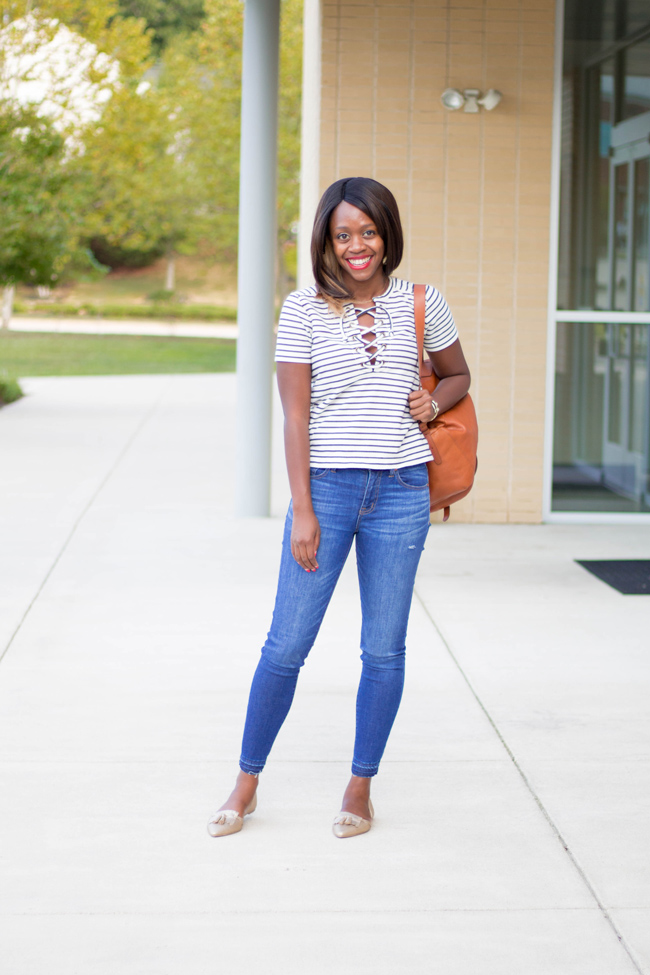 D.C. blogger Alicia Tenise styles a Madewell lace-up top, frayed denim and gold metallic Christian Siriano for Payless flats.