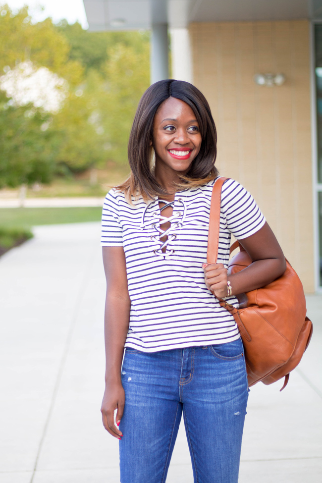 How to Wear a Striped Lace Up Tee, Casual Fall Outfit Ideas