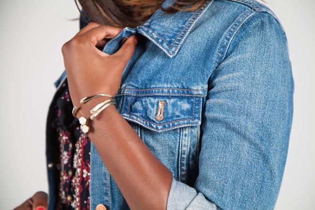 Kendra Scott Blake Bangle Bracelet Set In Iridescent Drusy, Madewell Denim Jacket