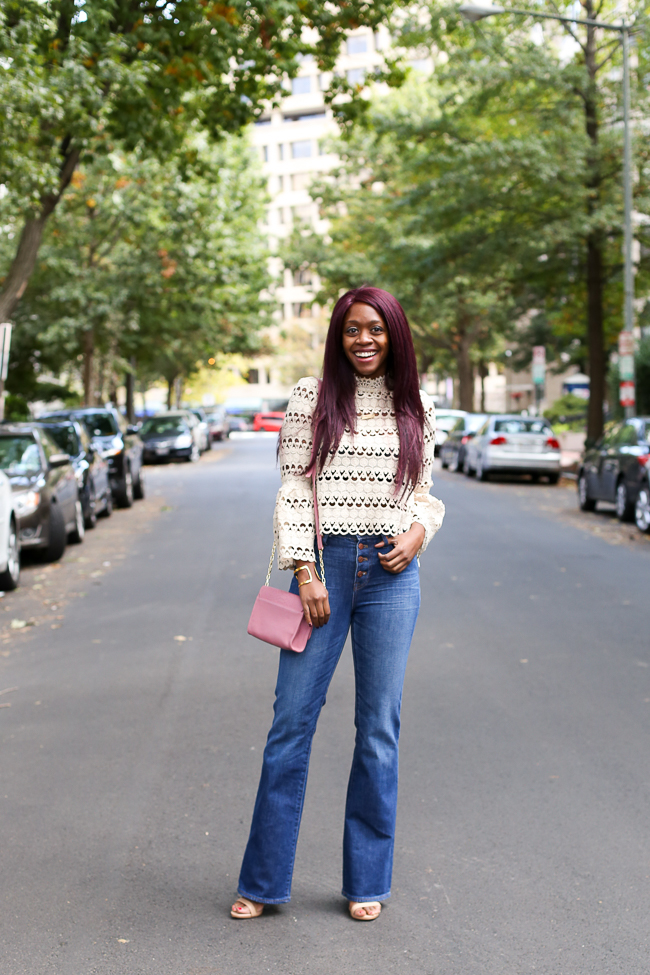D.C. blogger Alicia Tenise styles the Chicwish Lace Top, Madewell Flare Denim, and Gigi New York Catie Bag