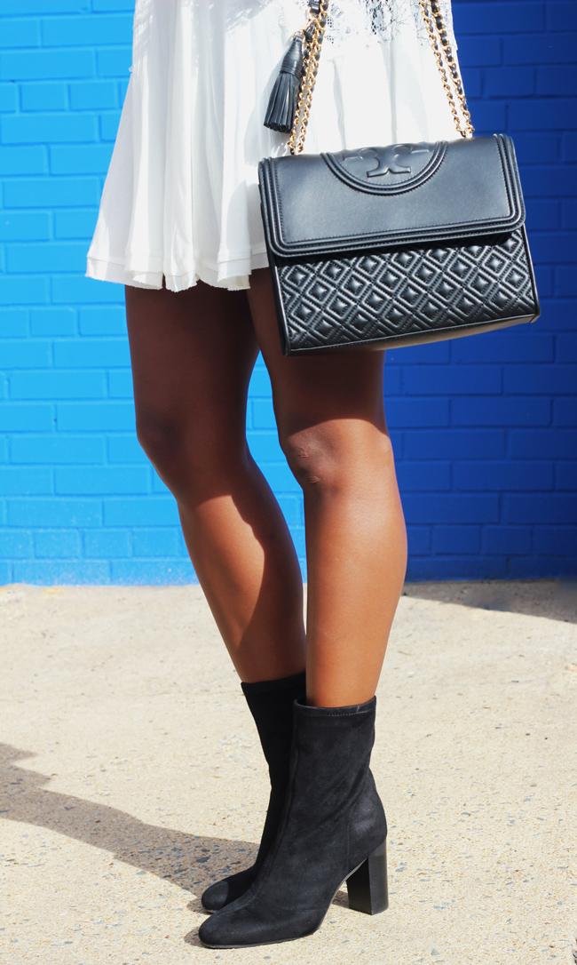 Tory Burch Fleming Bag, Vince Camuto Sendra Bootie, White Dress and Black Ankle Booties