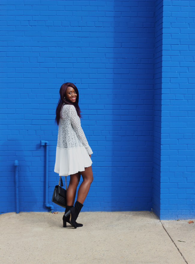 Free People Tell Tale Lace Dress, D.C. Style Blog, White Dress for Fall