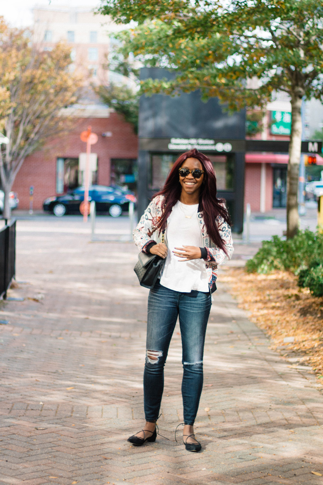 madewell destroyed denim, lou and grey tshirt, nordstrom bomber jacket