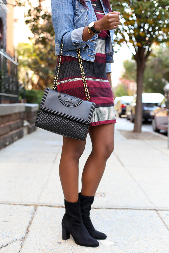 Vince Camuto Sendra Bootie and a Sanctuary Striped Sweater Dress