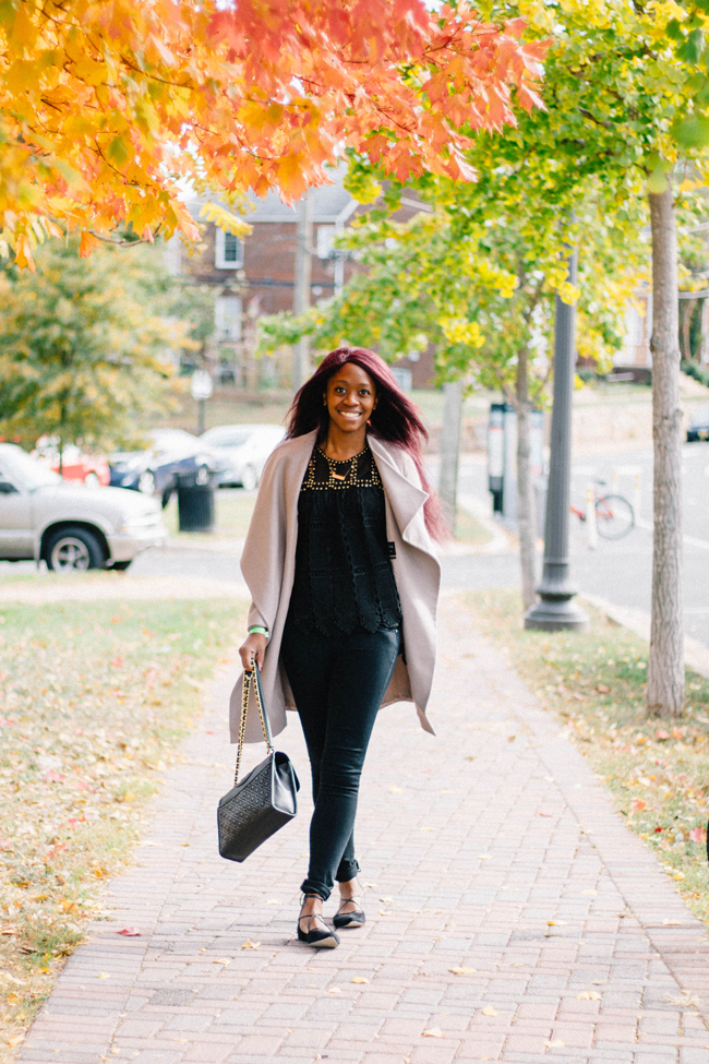 D.C. fashion blogger Alicia Tenise styles an All Saints coat from Clarksburg Premium Outlets