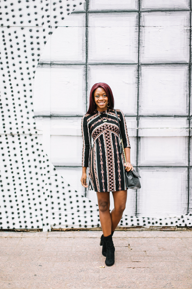 D.C. blogger styles the Free People Stella Graphic Print Minidress Vince Camuto Sendra Bootie and Tory Burch Fleming Bag