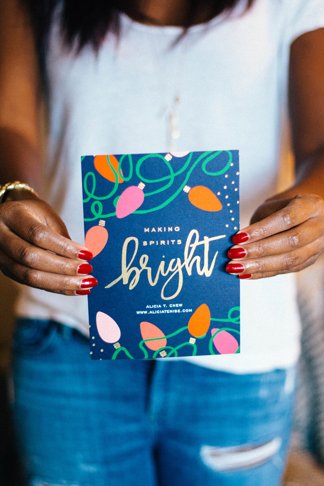 Top Virginia life and style blogger Alicia Tenise reviews the Minted Holiday Cards: picture of a woman holiday Gold Foil Minted Holiday Cards