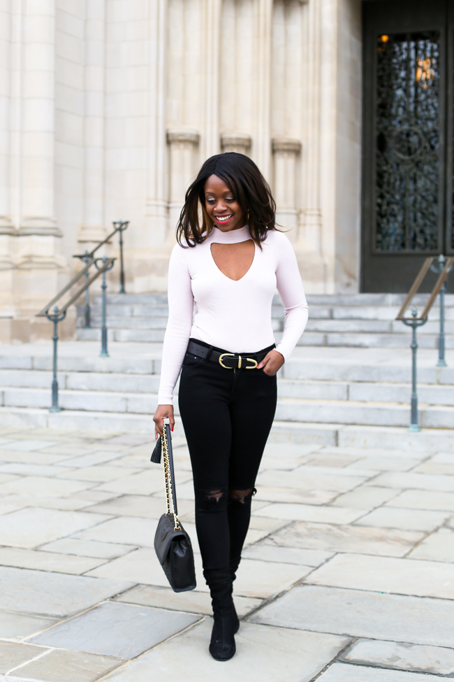pink choker top destroyed jeans and black ankle booties - The Top 10 Best Places to Take Photos in D.C. featured by popular DC blogger, Alicia Tenise