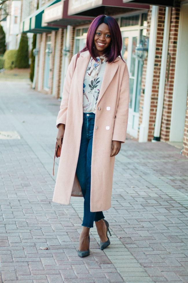 Topshop Longline Maxi Coat in Blush