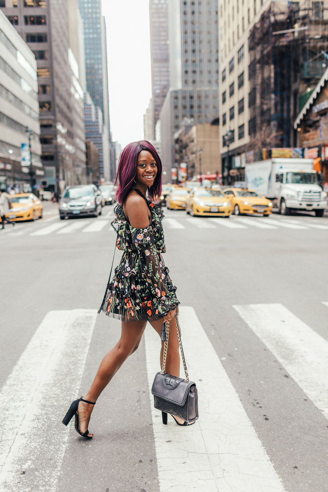 D.C. Blogger Alicia Tenise wears the Black Alexis Floral Dress from Rent the Runway - @aliciatenise