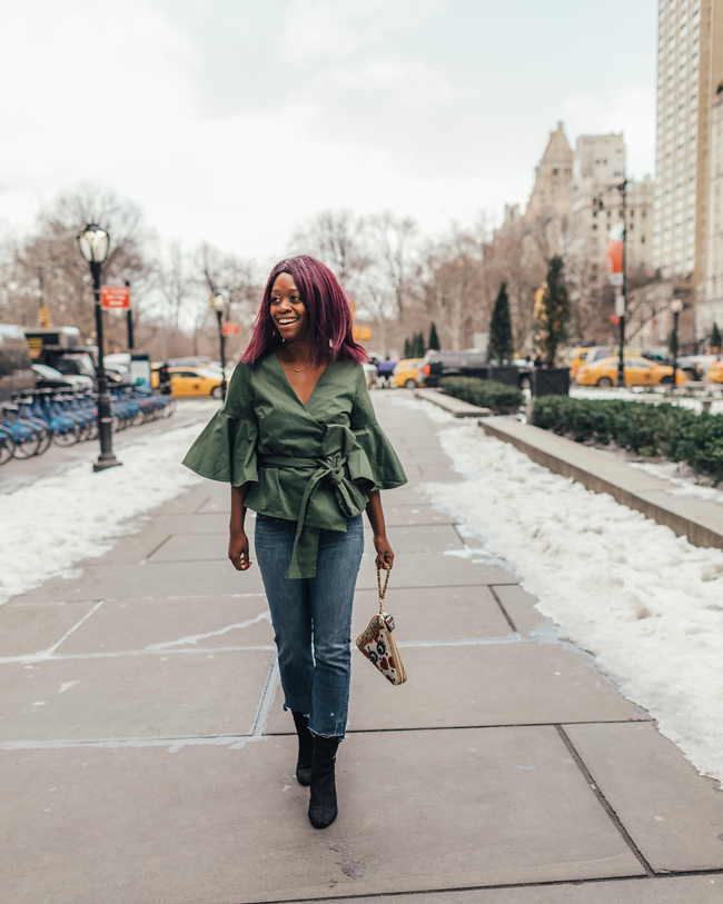 Green Wrap Top - Date Night Outfit Idea - @aliciatenise