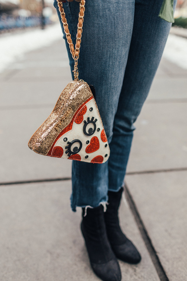 Betsey Johnson Pizza Clutch - Drop Hem Denim - @aliciatenise