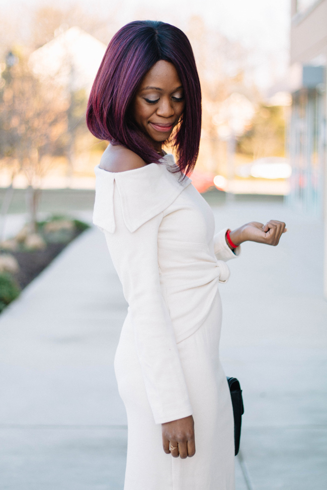Knotted Sweater Dress, Ombre Purple Hair