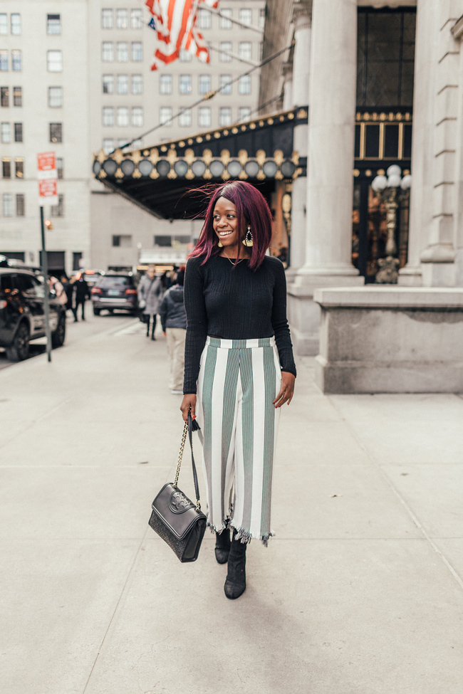 D.C. blogger Alicia Tenise styles the English Factory Wide Leg Pants from South Moon Under