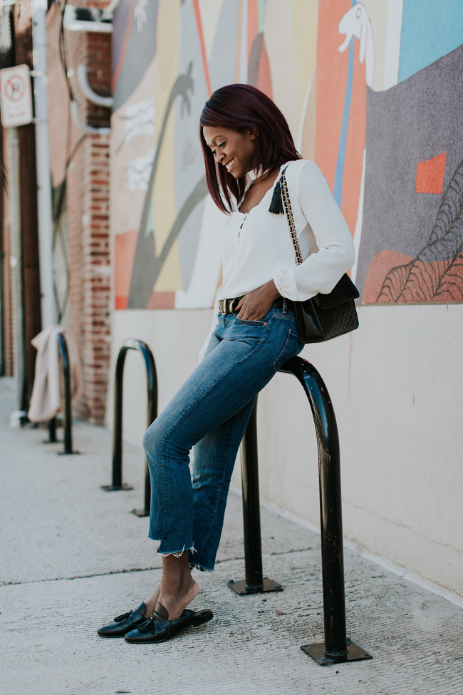 How to Wear Cropped Denim Flare Jeans