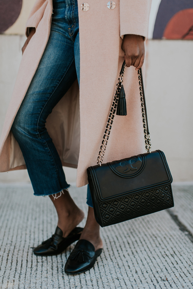 Tory Burch Fleming Bag, Black Leather Loafer Mules