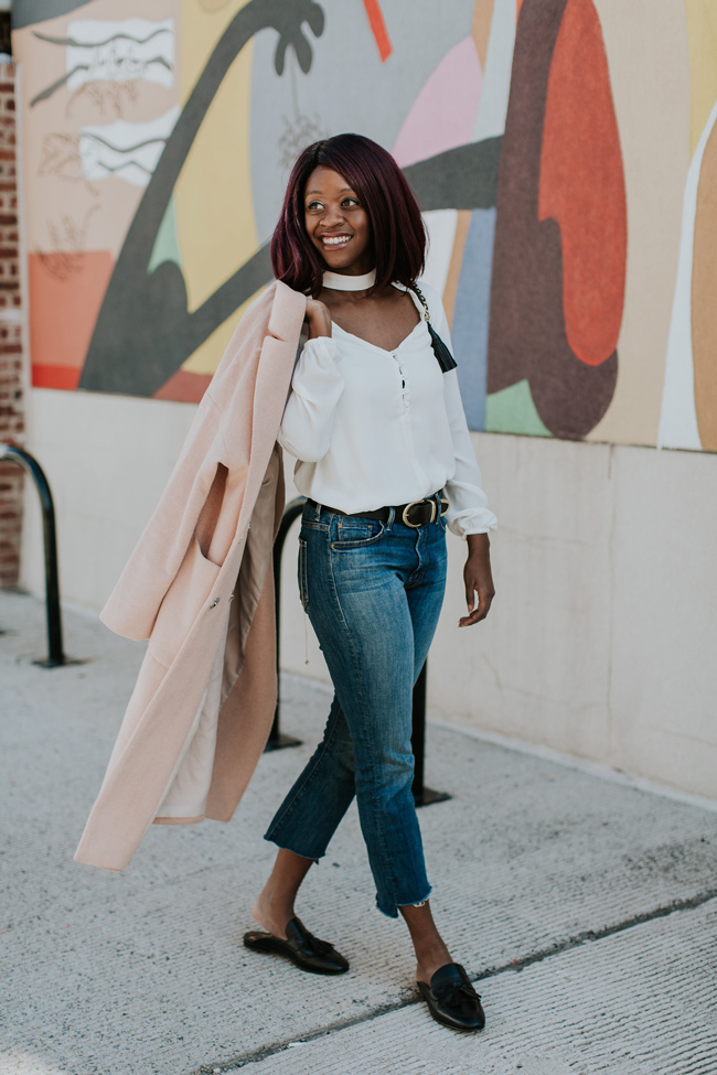 D.C. blogger Alicia Tenise styles the Wayf Sweet Symphony Necklace, Mother Cropped Flare Denim and Sam Edelman Loafer Mules