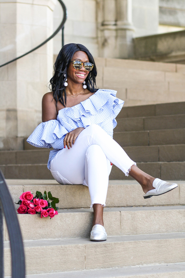 D.C. blogger Alicia Tenise styles the Chicwish One-Shoulder Ruffle Top and Paige White Cropped Raw Hem Jeans