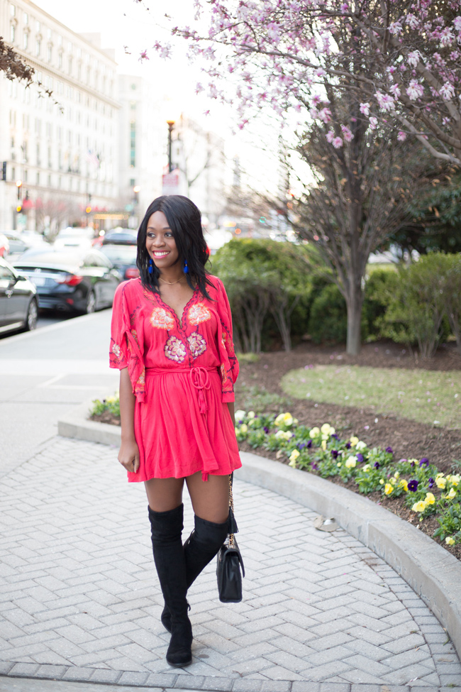 D.C. blogger Alicia Tenise styles the Free People Cora Dress and the Dolce Vita Neely Over the Knee Boots