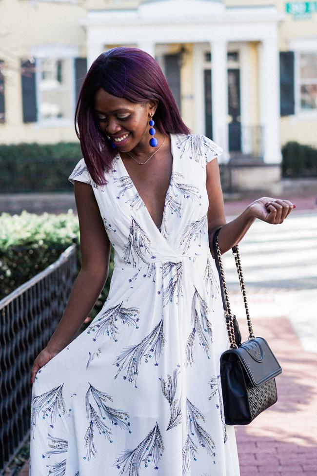 Top D.C. Fashion Blogger, Floral Dress with Plunge Neckline