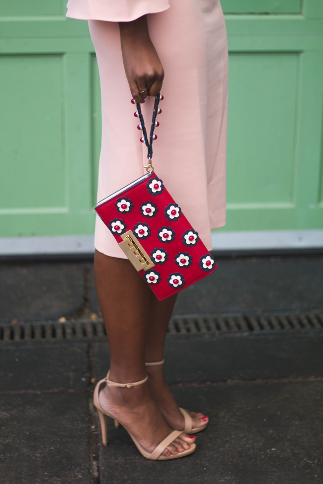 Floral clutch from Rent the Runway