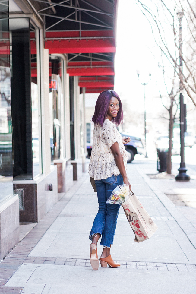 Free People Say What You Will Paisley Top, Mother Cropped Insider Denim, Rachel Comey Mules
