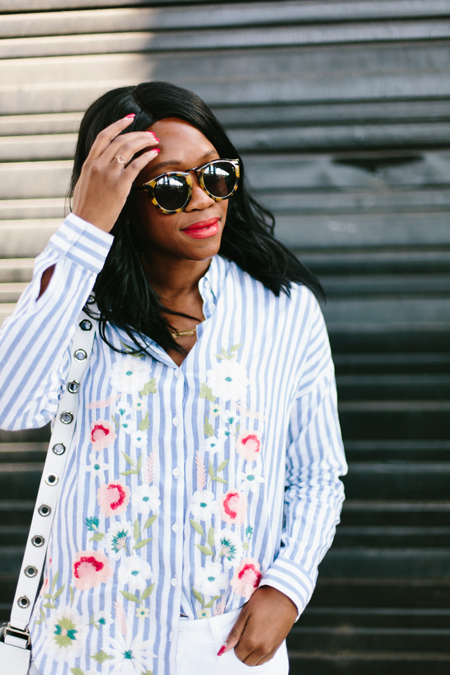 b424230bb0d1 Embroidered Stripe Top, Philly Style Blogger, Karen Walker Harvest  Sunglasses