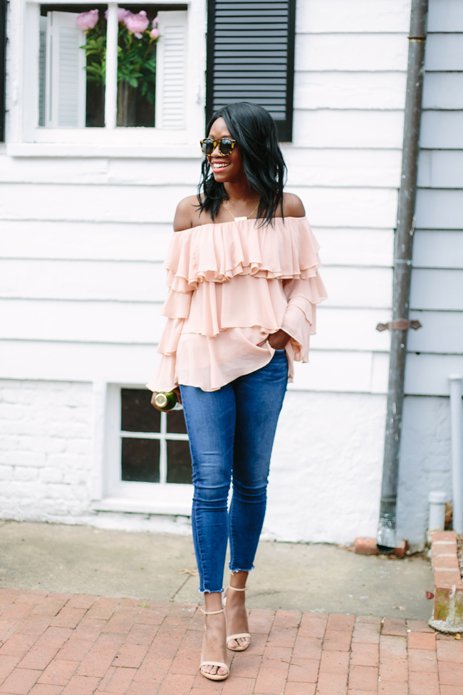 A Gold E Raw Hem Jeans, Blush Ruffle Sleeve Top