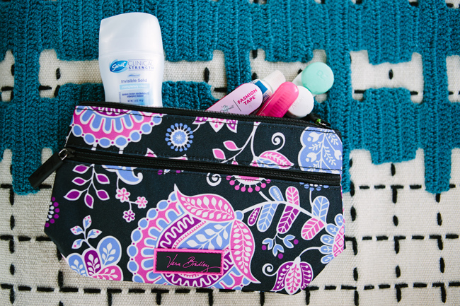 The Best Toiletries for Traveling, Secret Clinical Strength, Vera Bradley Toiletry Pouch