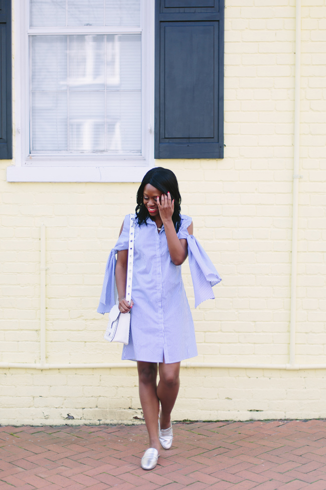 D.C. blogger Alicia Tenise styles the Style Mafia Viggio Dress and Sam Edelman Perri Mules