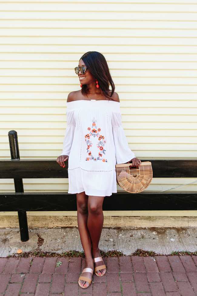 Philly Fashion Blogger Alicia Tenise styles the Altar'd State Off the Shoulder Embroidered Dress and Metallic Slider Sandals