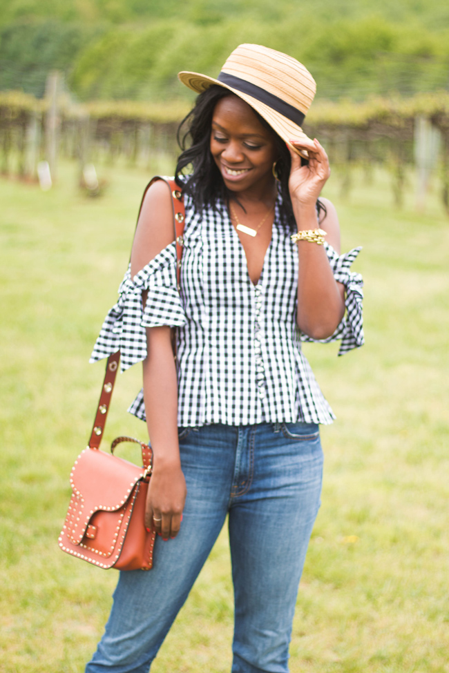 Gingham Cold Shoulder Top, What to Wear to a Winery, Rebecca Minkoff Midnighter Top Handle Bag