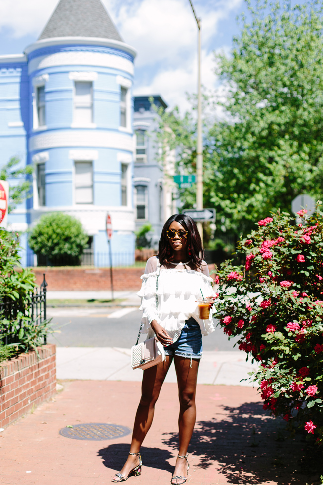 Chicwish Ruffle Long Sleeve Top, Madewell Boyshort - The Top 10 Best Places to Take Photos in D.C. featured by popular DC blogger, Alicia Tenise