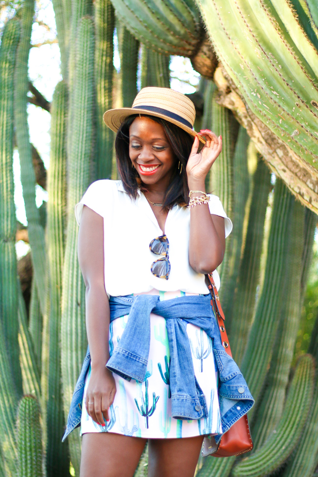 Cactus Print Skirt, Boater Hat, Phoenix Travel Guide
